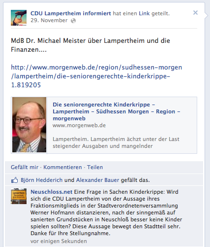 Facebook-Anfage an CDU-Lampertheim