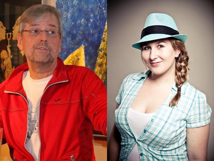 Paul (Friedrich Hackstein) präsentierte in Neuschloß seine satirische Märchenstunde, begleitet von Jessica Renc (Gesang, Keyboard).